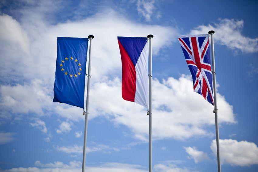 european union, czech and english flag